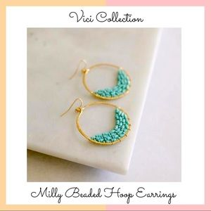 Vici Collection • Turquoise Beaded Hoop Earrings